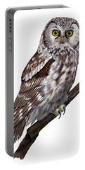 Boreal Owl Tengmalm's Owl Aegolius Funereus - Nyctale De Tengmalm - Paerluggla - Nationalpark Eifel Portable Battery Charger