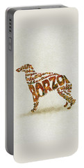 Portable Battery Charger featuring the painting Borzoi Dog Watercolor Painting / Typographic Art by Inspirowl Design