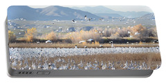 Bosque Del Apache Snow Geese Landscape Portable Battery Charger by Andrea Hazel Ihlefeld