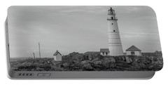 Boston And Graves Lighthouses In Monochrome Portable Battery Charger by Brian MacLean