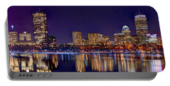 Portable Battery Charger featuring the photograph Boston Back Bay Skyline At Night 2017 Color Panorama 1 To 3 Ratio by Jon Holiday
