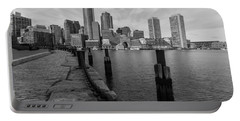 Boston Cityscape From The Seaport District In Black And White Portable Battery Charger