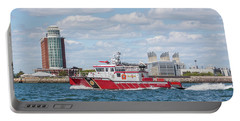 Boston Fire Rescue Boat Passing Logan Airport Portable Battery Charger