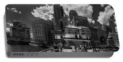 Portable Battery Charger featuring the photograph Boston Harbor Panoramic In Black And White by Joann Vitali