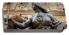 Portable Battery Charger featuring the photograph Boston Public Library Lady Sculpture by Joann Vitali