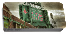 Portable Battery Charger featuring the photograph Boston Red Sox Fenway Park Scoreboard by Joann Vitali