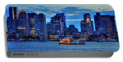 Portable Battery Charger featuring the photograph Boston Skyline At Night - Boston Harbor by Joann Vitali