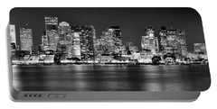 Boston Skyline At Night Panorama Black And White Portable Battery Charger