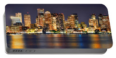 Boston Skyline At Night Panorama Portable Battery Charger