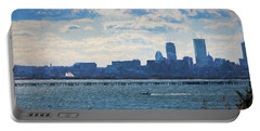 Boston Skyline From Deer Island Portable Battery Charger