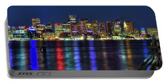 Portable Battery Charger featuring the photograph Boston Skyline Harborside At Night  by Joann Vitali