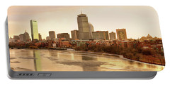 Boston Skyline On A December Morning Portable Battery Charger by Mitchell R Grosky