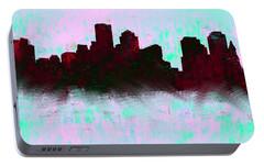 Boston Skyline Sky Blue  Portable Battery Charger by Enki Art