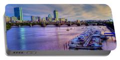Boston Skyline Sunset Portable Battery Charger by Joann Vitali