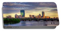 Boston Skyline Sunset Over Back Bay Portable Battery Charger by Joann Vitali