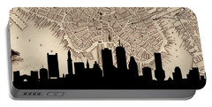 Boston Skyline Vintage Portable Battery Charger by Andrew Fare