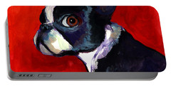 Boston Terrier Dog Portrait 2 Portable Battery Charger by Svetlana Novikova