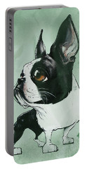 Boston Terrier - Green  Portable Battery Charger