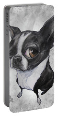 Boston Terrier - Grey Antique Portable Battery Charger