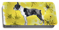 Portable Battery Charger featuring the painting Boston Terrier On Yellow by Zaira Dzhaubaeva