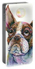Portable Battery Charger featuring the painting Boston Terrier Watching A Soap Bubble by Zaira Dzhaubaeva