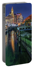 Boston's Custom House Tower From Long Wharf Portable Battery Charger