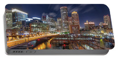 Boston's Skyline At Night Portable Battery Charger