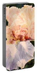 Botanical Peach Iris Portable Battery Charger by Laurie Rohner