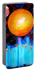 Portable Battery Charger featuring the painting Bottles And A Sun by Justin Moore