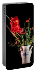 Bouquet In Red Portable Battery Charger by Torbjorn Swenelius
