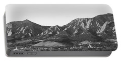 Boulder Colorado Flatirons And Cu Campus Panorama Bw Portable Battery Charger