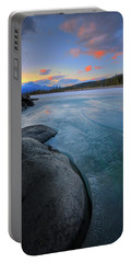 Portable Battery Charger featuring the photograph Boulders And Ice On The Athabasca River by Dan Jurak