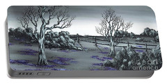 Portable Battery Charger featuring the painting Boundry Fence. by Kenneth Clarke