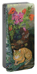 Bouquet And A Cat Portable Battery Charger
