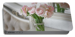 Bouquet Of Delicate Ranunculus And Tulips In Interior Portable Battery Charger