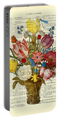 Bouquet Of Flowers On Dictionary Paper Portable Battery Charger