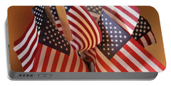 Bouquet Of Us Flags Portable Battery Charger by Linda Phelps