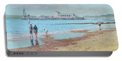 Portable Battery Charger featuring the painting Bournemouth Pier Late Summer Morning by Martin Davey