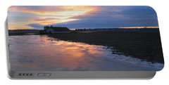 Bow Barn And Frozen Pond In Sunset Portable Battery Charger