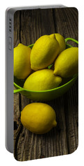 Bowl Of Lemons Portable Battery Charger by Garry Gay