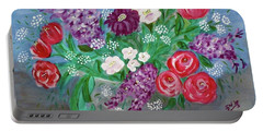 Portable Battery Charger featuring the painting Bowl Of Poisies by Sonya Nancy Capling-Bacle