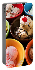 Bowls Of Different Flavor Ice Creams Portable Battery Charger