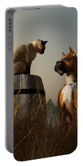 Boxer And Siamese Portable Battery Charger by Daniel Eskridge