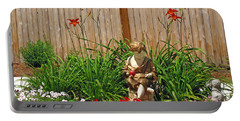 Boy And Dog In Garden Portable Battery Charger
