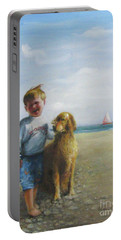 Boy And His Dog At The Beach Portable Battery Charger