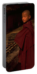 Portable Battery Charger featuring the photograph Boy Buddhist In Bodh Gaya by Travel Pics