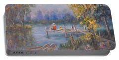 Boy Fishing On Dock And Boat On Lake Portable Battery Charger