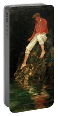 Boy Fishing On Rocks  Portable Battery Charger
