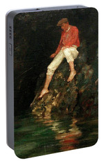 Portable Battery Charger featuring the painting Boy Fishing On Rocks  by Henry Scott Tuke