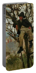 Portable Battery Charger featuring the painting Boy In A Tree by Henry Scott Tuke